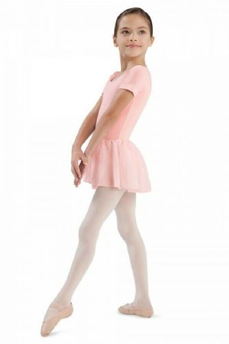 Bloch Girls Cap Sleeve Leotard Dress Dance Pink Chiffon Skirt CL5342 Tiffany